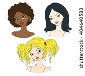 portraits of girls. hairstyles. ... | Shutterstock .eps vector #404640583
