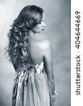 beautiful model with long curly ... | Shutterstock . vector #404644669