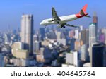 the plane was landing on city... | Shutterstock . vector #404645764