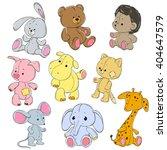 Stock vector collection of soft toys cartoon toy rabbit elephant hippo cat bear giraffe mouse hedgehog 404647579