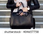 fashionable woman hold big... | Shutterstock . vector #404657758