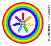 colored pencils and rainbow.... | Shutterstock .eps vector #404666659