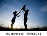 young family happy play on the... | Shutterstock . vector #40466761