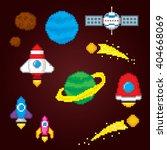 space icons set. pixel art. old ... | Shutterstock .eps vector #404668069