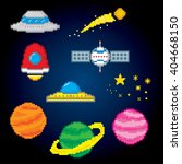 space icons set. pixel icons.... | Shutterstock .eps vector #404668150