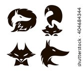 fox set of silhouettes  vector... | Shutterstock .eps vector #404684344