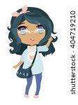 anime chibi hipster girl  | Shutterstock .eps vector #404719210