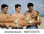 a young woman in a bikini with... | Shutterstock . vector #404723473