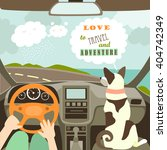 owner having a car trip with... | Shutterstock .eps vector #404742349