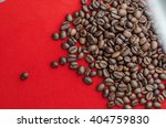 coffee beans on a red background   Shutterstock . vector #404759830