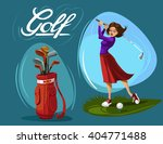 Set Of Woman Golfer  Golf Bag...