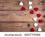 Wooden Hearts On A Wooden...