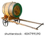 Wooden Barrel On Cart Isolated...