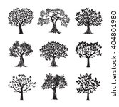 collection of black trees.... | Shutterstock .eps vector #404801980