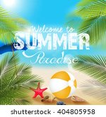 summer beach with beach... | Shutterstock .eps vector #404805958
