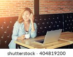 happy young hipster woman... | Shutterstock . vector #404819200