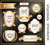 elegant golden premium labels...   Shutterstock . vector #404823514