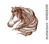 Stock vector graceful horse engraving sketch icon with profile of purebred stallion head with flowing mane use 404828200