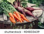 fresh vegetables  carrots and... | Shutterstock . vector #404833639