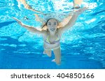 Child Swims In Pool Underwater  ...