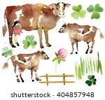 Watercolor Farm Set. Realistic...