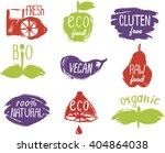 labels with vegetarian and raw... | Shutterstock .eps vector #404864038