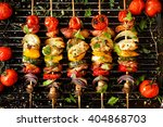 vegetable and meat skewers in a ... | Shutterstock . vector #404868703