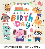 Birthday Card With Group Of...