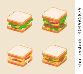four tasty sandwiches with... | Shutterstock .eps vector #404965879