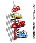 team work. vector comic car...   Shutterstock .eps vector #404967823