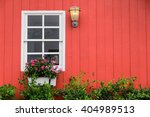 old window on abandoned red barn | Shutterstock . vector #404989513