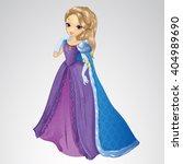 beautiful queen in blue mantle | Shutterstock .eps vector #404989690
