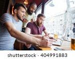 three amazed shocked handsome...   Shutterstock . vector #404991883