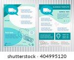 truck icon on vector brochure.... | Shutterstock .eps vector #404995120