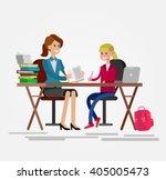 woman teacher tutor tutoring... | Shutterstock .eps vector #405005473
