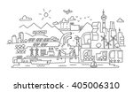 hand line drawing  futuristic... | Shutterstock .eps vector #405006310