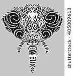 stylized black white elephant...   Shutterstock .eps vector #405009613