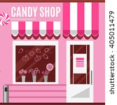 candy shop in a pink color.... | Shutterstock .eps vector #405011479
