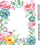 beautiful watercolor frame... | Shutterstock . vector #405019234