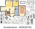 architecture plan with... | Shutterstock .eps vector #405020740