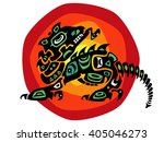 dragon stylized in ethnic | Shutterstock .eps vector #405046273
