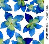 watercolor blue flowers... | Shutterstock . vector #405047503
