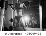 fitness woman doing squats with ... | Shutterstock . vector #405049438