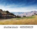 ruins of the ancient inca... | Shutterstock . vector #405050029