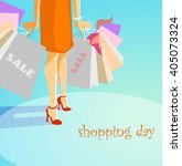 a woman holding a shopping bags.... | Shutterstock .eps vector #405073324