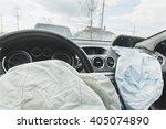 Small photo of Car Crash air bag, blue, inscription airbag