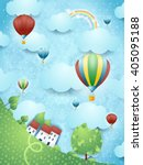 surreal landscape with hot air...   Shutterstock .eps vector #405095188