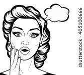 line art woman face with open... | Shutterstock .eps vector #405100666