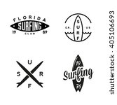 set of vintage surfing graphics ... | Shutterstock .eps vector #405106693