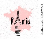 sketch of the eiffel tower on... | Shutterstock .eps vector #405126274
